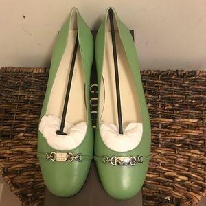 NEW GUCCI Green Leather Ballerina Flats